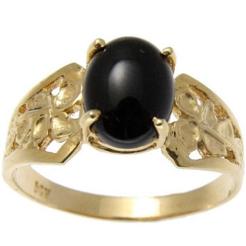 GENUINE NATURAL OVAL CABOCHON BLACK CORAL RING SOLID 14K YELLOW GOLD