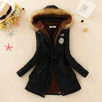 Winter Jacket Faux Fur Collar Coats Long Down Parka Plus Size