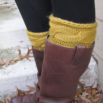 Boot Socks-Buy 2 get 1 FREE-Boot Cuffs-Full boot Sock sock Included- Topper-Boot Sock- Mustard Yellow Large Cable Knit -Full sock included