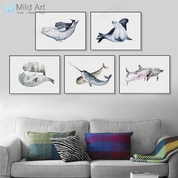 Watercolor Animal Fish Dolphin Shark Mother Child Poster Print Nordic Kids Room Wall Art Picture Deco Canvas Painting No Frame