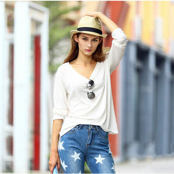 Winter Stylish Vintage Simple Design V-neck Long Sleeve Bottoming Shirt [6339065409]