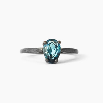 London Blue Topaz Pear Ring in Sterling