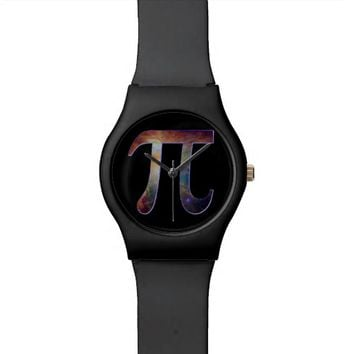 Space pi happy pi day galaxy math geek gift wristwatch