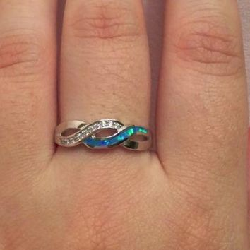Silver Blue Lab Opal and Cubic Zirconia Band Ring