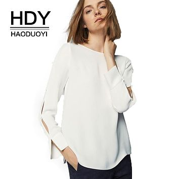 HDY Haoduoyi Solid White Sweet Fashion Women Shirts Long Sleeve O-neck Split Hollow Out Buttons Female Blouses Elegant Tops