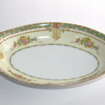 Japanese Serving Bowl / Mieto Fine China / Gold Handles