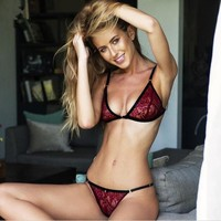 red floral lace sexy bras sets unpadded brasier mujer transparent crop top bra hollow out 3/4cup bralette panties women set