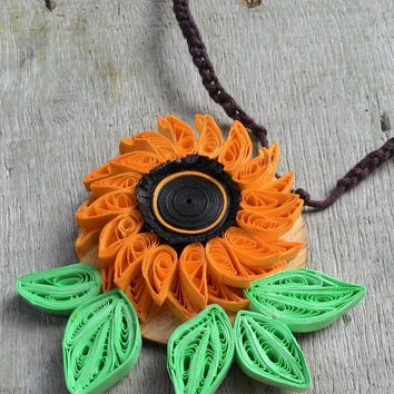 Paper jewelry, Birthday gift, anniversary gift, flower necklace, sunflower,sunflower neklace,  paper quilling, ethnic jewelry