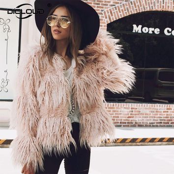 Plus size XXXL Sheep Fur Jacket Coat Women Elegant Fluffy Autumn Winter Jackets Coats Long Sleeve Cozy Warm Overcoat Outerwear