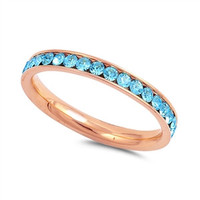 Rose Gold  Aquamarine Stainless Steel Eternity Ring W/ Crystal