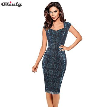 Oxiuly Women's Chic Elegant Lace Mesh Stretch Summer Working Wear Bodycon Party Cocktail Pencil Sheath Formal Dinner Dress