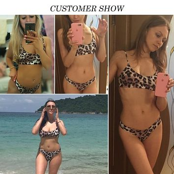 Strappy leopard print swimsuit 2018 Bandeau bikini top high cut thong women swimwear Push up sexy bandeau bathing suit bqiuini