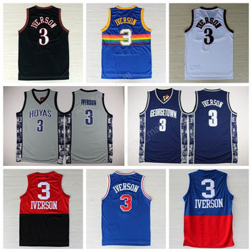College 3 Allen Iverson Jersey Georgetown Hoyas Throwback Allen Iverson Basketball Jerseys Vintage USA Dream Team Navy Blue White Gray Red