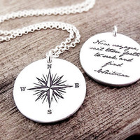 Voyager necklace  compass rose and Whitman quote by lulubugjewelry