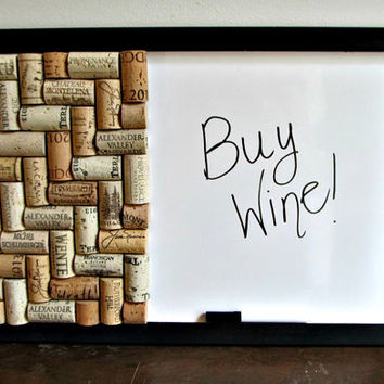 Dry Erase Wine Cork Message Bulletin Board - Home, Office, Dorm Room, Kitchen, Organizer