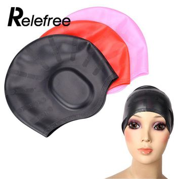 Relefree Swimming Cap Silicone Elastic Stretch Ear Protection Swimming Hat Bathing Cap Pack Long Hair For Adult Man Women