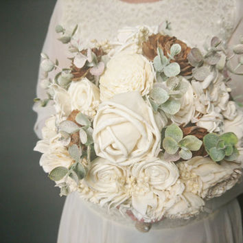 BIG cream brown rustic wedding BOUQUET Ivory sola Flowers, cedar roses, Burlap Handle, dried sorghum, faux eucalyptus lace pearl pins custom