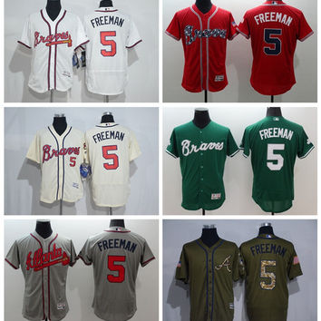 Flexase 5 Freddie Freeman Jersey Atlanta Braves Baseball Jerseys Freddie Freeman Uniforms Cooperstown Cream White Baby Blue New Red