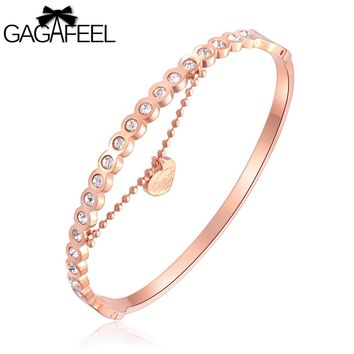 GAGAFEEL Customize Letter Engrave Bracelets Bangles For Women Stainless Steel Rose Gold Color Charm Jewelry for Girls Friends
