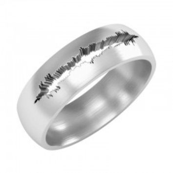 Custom Soundwave, Voice Record, Heartbeat Silver Ring