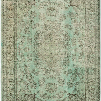 "7'2"" x 10'6"" Mint Green Turkish Overdyed Rug"
