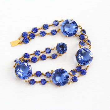 Vintage Art Deco Gold Tone Simulated Sapphire Bracelet - 1940s Blue Open Back Round Glass Stone Bridal Wedding Costume Jewelry