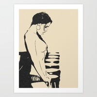 And what do we have here? Sexy erotic nude, sweet brunette posing topless, naughty black and white Art Print by Peter Reiss