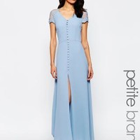 Jarlo Petite | Jarlo Petite Lucia Button Through Maxi Dress With Lace Shoulders at ASOS