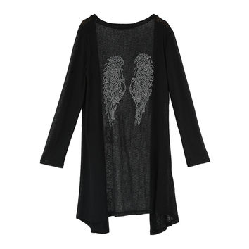 Black Rhinestone Angel Wings Long Sleeve Knitted Long Cardigan