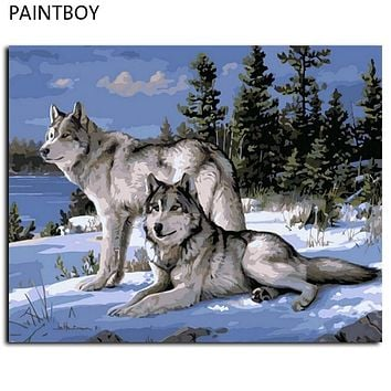PAINTBOY Framed Pictures DIY Oil Painting By Numbers Home Decor Wall Art Wolf Painting 40*50cm GX4430 40x50cm