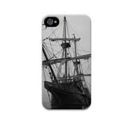 10% off Pirate Ship iphone 5 case, iphone 4 case, unique iphone 5 case, Black and White iphone case, Spanish Galleon, Jolly Roger, Nautical