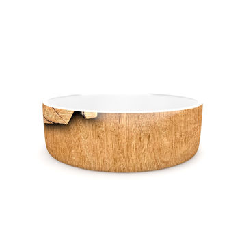 "Susan Sanders ""Natural Wood"" Rustic Nature Pet Bowl"