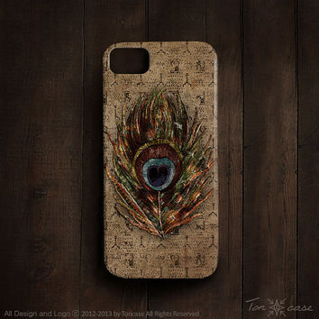 Feather iPhone 5 case - peacock iPhone 4 case, tribal iPhone 4s case, hippie, indian, High quality 3D printing - peacock feather (c3)