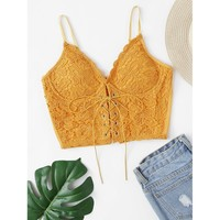 Lace Up Front Crop Cami Top
