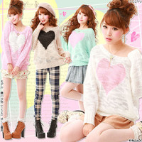 Rakuten: Pastel color.Impact heart knit- Shopping Japanese products from Japan