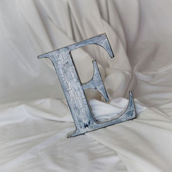 Distressed 16 inch Wood Letters, Shabby Chic Crackle Finish, Hang on the wall