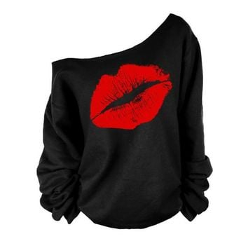 Red White Lips Offset Print Women Tops Long Sleeve Loose Fit Tee Shirts  Women Clothing Spring hembra camiseta