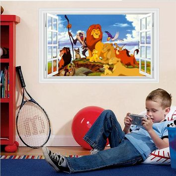 3D The Lion King wall stickers for kids room removable fake window wall decals boys bedroom wall pictures