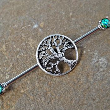 Tree of Life Glitter Opal Industrial Piercing Barbell Scaffold Piercing 14ga Body Jewelry Piercing Jewelry