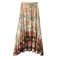 Style Boho Skirt Women High Low Hem Beach Skirts Vintage Floral Print Skirt Elastic Waist Casual Midi Skirts