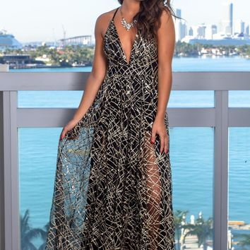 Black and Gold Maxi Dress with Sequins