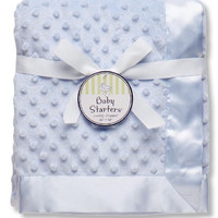 """Baby Starters Textured Dot Blanket with Satin Trim, Blue 30"""" x 40"""""""