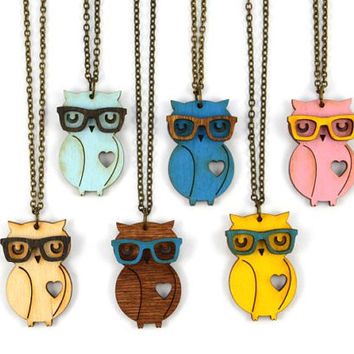 Nerd Owl Necklace - Handmade - laser cut