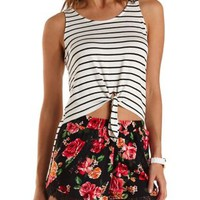 Knotted & Striped High-Low Tank Top by Charlotte Russe