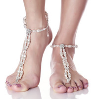 BESPOKE White Wedding Pearl Naked Sandals