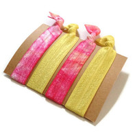 Elastic Hair Ties Hot Pink and Yellow Tie Dye Yoga Hair Bands