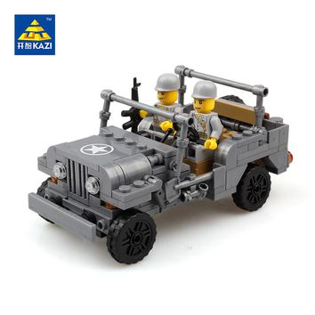 KAZI Military US Army Willys MB Jeep Airborne World War Classic Model Block Brick Building Toys Compatible with lego