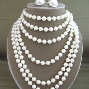 Xtra Long White Faux Pearl Necklace with earrings