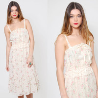 Vintage 70s LACE Sundress FLORAL Peplum Prairie Dress Ivory Hippie Dress