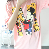 """Pink Graphic """"M"""" Printed Tee"""